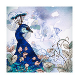 Floral Background with Peacock Prints by Varvara Kurakina