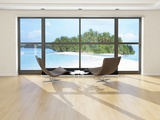 Two Lounge Chairs Against Huge Window with Seascape View Photographic Print by  PlusONE