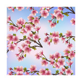 Background Pattern with Sakura Tree Print by  silvionka