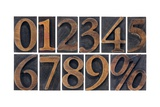Numbers from Zero to Nine and Percent Symbol Art by  PixelsAway
