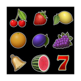 Slot Machine Fruit Symbols Prints by  PandaWild
