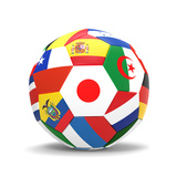 Football and Flags Representing All Countries Participating in Football World Cup in Brazil in 2014 Poster af paul prescott