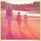 Mother and Children Walking on Beach in Sunset with Border Posters by  melking
