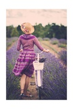 Woman in Purple Dress and Hat with Retro Bicycle in Lavender Field Prints by NejroN Photo