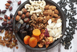 Variety of 12 Assorted Nuts and Dried Fruits Photographic Print by  alenkasm