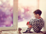 Boy in Winter Window Prints by  Alekuwka