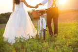 Bride and Groom with a White Wedding Bike Affiches par  HalfPoint