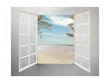 Modern Residential Window Open and Beach with Palm Trees Behind Lámina giclée premium por ilker canikligil