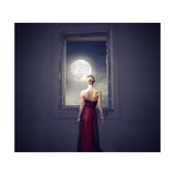 Beautiful Woman Observing the Moon from a Window Print by  olly2
