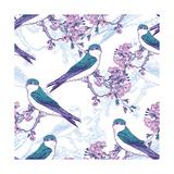 Spring Cherry Pattern with Birds Posters by Varvara Kurakina