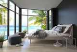 Tropical Bedroom Interior with Double Bed and Seascape View Prints by  PlusONE