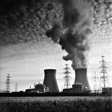 Cooling Towers of a Nuclear Power Plant Creating Dark Clouds Monochrome Film Grain Photographic Print by  kikkerdirk