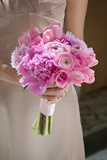 Bridesmaid with Pink Bouquet Posters by  Imaginis Photography