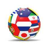 Football and Flags Representing All Countries Participating in Football World Cup in Brazil in 2014 Kunstdruck von paul prescott