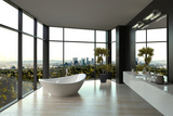 Modern White Luxury Bathroom Interior Prints by  PlusONE