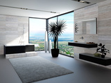 Ultramodern Bathroom Interior with Luxury Furniture and Marble Wall and Panoramic View Posters by  PlusONE