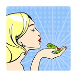 Young Woman with a Frog Poster by Alena Kozlova