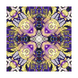 Art Nouveau Geometric Ornamental Vintage Pattern in Lilac, Violet, Black, White and Yellow Colors Posters by Irina QQQ