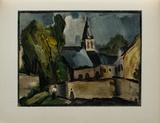 L'Eglise de Bougival, 1913 Samletrykk av Maurice De Vlaminck