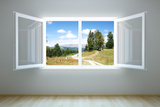Empty New Room with Open Window Photographic Print by  auris