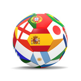 Football and Flags Representing All Countries Participating in Football World Cup in Brazil in 2014 Plakater av paul prescott