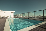 Outdoor Swimming Pool at the House Roof Print by  topdeq