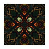 Art Nouveau Ornamental Vintage Pattern in Green and Red Colors Prints by Irina QQQ