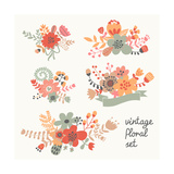 Retro Flowers Premium Giclee Print by  smilewithjul