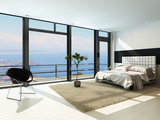 Contemporary Modern Sunny Bedroom Interior with Huge Windows Photographic Print by  PlusONE