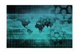 Blue Industrial Background on a Global Map Scale Poster by  kentoh