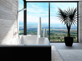 Modern Bathtub in a Bathroom Interior with Floor to Ceiling Windows with Panoramic View Prints by  PlusONE