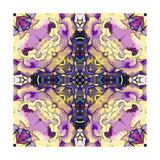 Art Nouveau Geometric Ornamental Vintage Pattern in Lilac, Violet, Black, White and Yellow Colors Prints by Irina QQQ