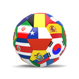 Football and Flags Representing All Countries Participating in Football World Cup in Brazil in 2014 Poster von paul prescott