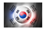 Soccer Football Ball with South Korea Flag Affiches par  daboost