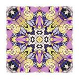 Art Nouveau Geometric Ornamental Vintage Pattern in Lilac, Violet, Black, White and Yellow Colors Print by Irina QQQ