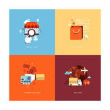 Flat Design Icons for Online Shopping Poster by  PureSolution
