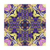 Art Nouveau Geometric Ornamental Vintage Pattern in Lilac, Violet, Black, White and Yellow Colors Prints by Irina QQQ