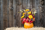 Pumpkin Flower Arrangement on Hay Photographic Print by  krisrobin