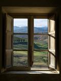 ollirg - Outside View of Cypress Trees and Green Hills Through a Shabby Windows - Fotografik Baskı