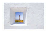 Formentera Mediterranean White Window with Barbaria Lighthouse Lámina giclée premium por  holbox