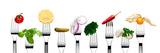 Variety of Vegetarian Food on Forks Reprodukcja zdjęcia autor foodbytes