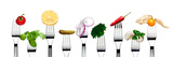 Variety of Vegetarian Food on Forks Print by  foodbytes