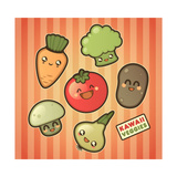 Kawaii Smiling Vegetables Art by  diarom