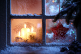 Frosted Window with Christmas Decoration Photographic Print by  Sofiaworld