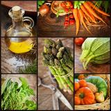 Fresh Vegetables Collage Fotografisk tryk af mythja