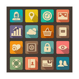 Flat Icons Set for Web and Mobile Applications Posters by  ekler