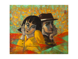 Portrait Lovers, Original Oil Painting on Canvas Posters by  Lilun
