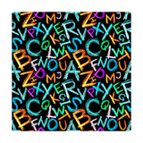Pattern - Crayon Alphabet over White Background Prints by  Zoom-zoom