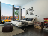 Modern Bedroom Interior with Huge Windows and Vintage Furniture Photographic Print by  PlusONE