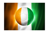 Soccer Football Ball with Ivory Coast Flag Affiche par  daboost